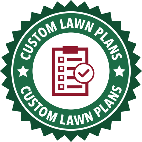 A green Custom Lawn Plans seal
